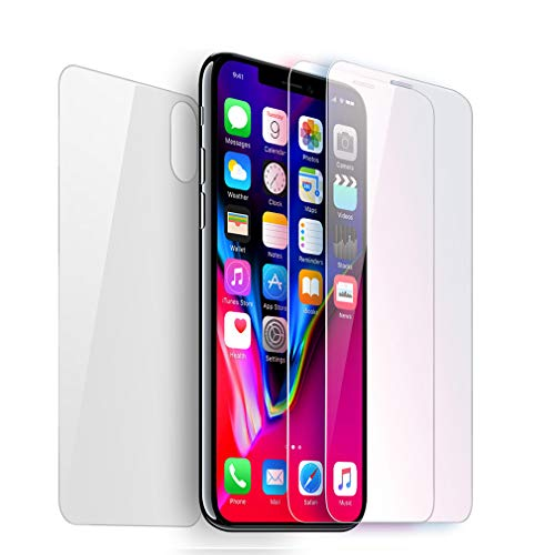 Screen Protector Compatible with iPhone X iPhone XS Tempered Glass Screen Protector Front and Back for iPhone X/XS