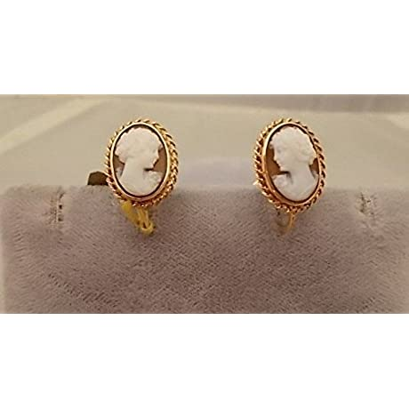 Pretty 10k Gold Genuine Natural Shell Cameo Earrings 348