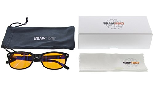 c59b7f58462e BrainFirst - 100% Blue Light Blocking Glasses - FDA Registered - For Better  Brain Health   Deep Restorative Sleep  Amazon.com.au  Health   Personal Care