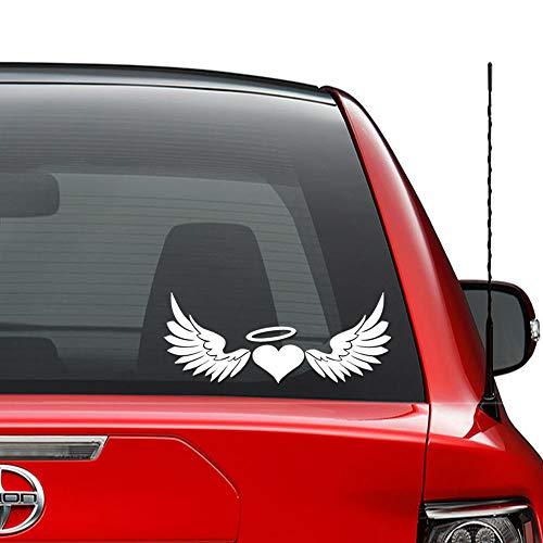 Angel Wings Heart Halo Christian Vinyl Decal Sticker Car Truck Vehicle Bumper Window Wall Decor Helmet Motorcycle and More - Size (7 inch / 18 cm Wide) / (Color Gloss White)