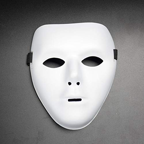 Fine Blank Male Mask for Halloween Cosplay Costume,Halloween PVC Mask Knight Ghost Dance Hip Hop Mask (White) -