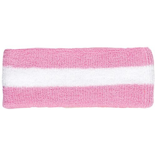 Striped Terry Headband - Striped Cotton Terry Cloth Moisture Wicking Head Band (Pink/White)