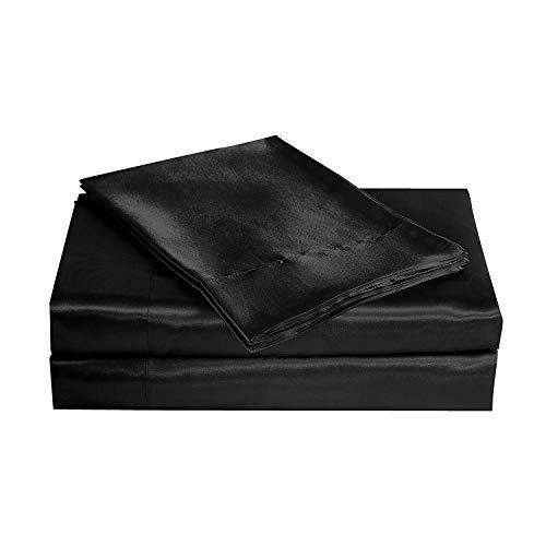 (MOONLIGHT BEDDING Ultra Silky Soft and Luxurious Satin 4-Piece Full Bed Sheet Set 15'' deep - Black)