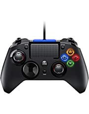 PS4 Controller- Wired Gaming Gamepad mit Dual-Vibration-Turbo und Trigger-Tasten für PlayStation 4/ PlayStation 3/ PC (Windows XP/ 7/8/ 8.1/ 10)/ Android/ Steam, Schwarz
