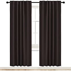 "RYB HOME Curtains Blackout Panels Living Room Back Tab/Rod Pocket Top Window Treatment Blackout Draperies for Study Room/Loft / Nursery, Wide 42"" x Long 72"", Brown, Double Panels"
