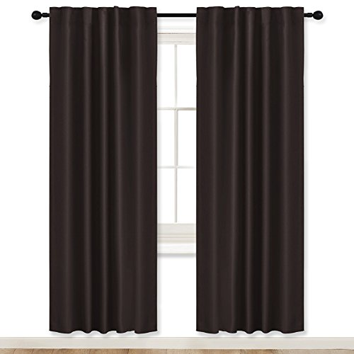 """RYB HOME Curtains Blackout Panels Living Room Back Tab/Rod Pocket Top Window Treatment Blackout Draperies for Study Room/Loft / Nursery, Wide 42"""" x Long 72"""", Brown, Double Panels"""