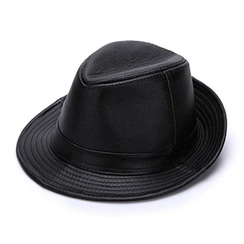 Cowhide Leather Hat - Men Genuine Cowhide Leather Top Hats Autumn Winter Warm Real Cowhide Leather Caps Real Leather Fedoras Cap Black