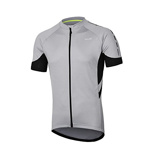 ARSUXEO Men's Short Sleeves Cycling Jersey Bicycle MTB Bike Shirt 636 Light Gray Size M ()