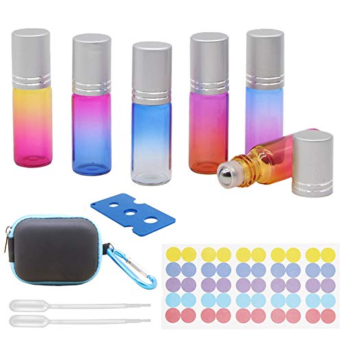 Welles Oil - Sky-Welle 6x 5ml Rainbow Color Glass Essential Oil Roller Bottles with EVA Hard Shell Case (Blue Case)