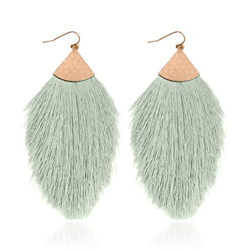 RIAH FASHION Bohemian Silky Thread Tassel Statement Drop Earrings - Strand Fringe Lightweight Feather Shape Hook Dangles/Fan Threader/Triangle Duster (Petal Tassel - Green)