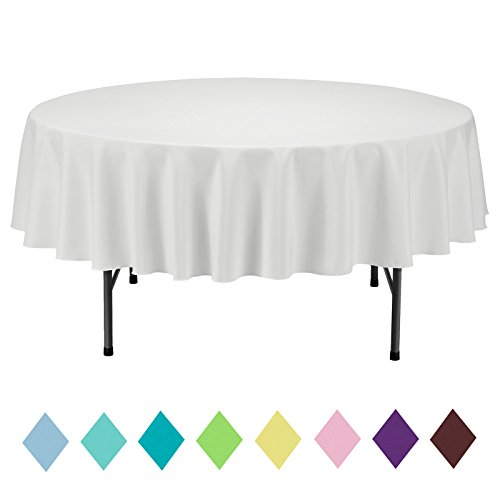 VEEYOO Round Table Cloth Solid Color Polyester Tablecloth for Bridal Shower Table - Circular Dinner Table Cover for Wedding Party Restaurant (Ivory, 70 inch)