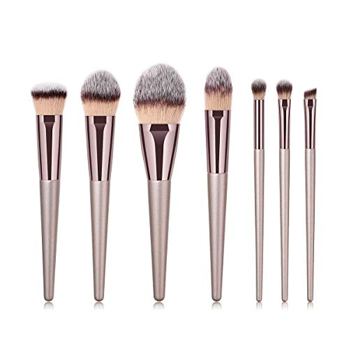 fashion makeup Powder Brush, Blending Brush, Eye Shadow Brush, Eyebrow Brush 7pcs Luxury Champagne Gold Makeup Brushes Set (Color : Gray, Size : 20 13 6)