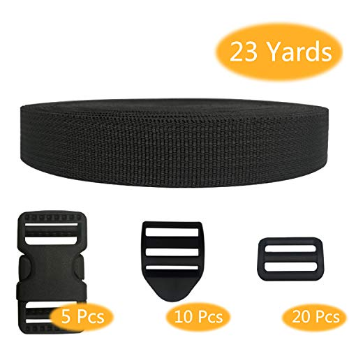 23 Yards Heavy Duty Webbing Strap Width 1 Inch, 5 pcs 1 Inch Heavy Duty Dual Adjustable Side Release Buckles (NO Sewing), 20 pcs Tri-Glide Slides, 10 pcs Ladder Lock Slider Buckles by Pantinue ()