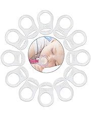 VOARGE 12 stuks siliconen ringen voor fopspeenketting, siliconen ring, fopspeenkettingen, transparant, zachte siliconen baby dummy fopspeen clips houders transparant