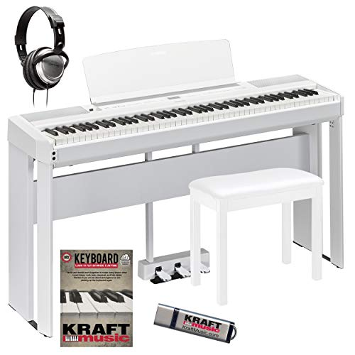 Yamaha P-515 White Digital Piano with L-515 Stand, LP-1 Pedal, Bench, Headphones, and Flashdrive