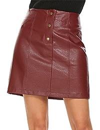 Women's Faux Leather Skirt High Waist Button Front A Line Short Skirt