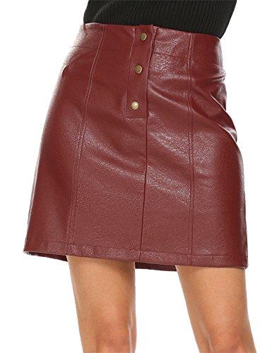 Mofavor Women's Button Front Classic High Waist A Line Faux Leather Mini (Faux Button Front)