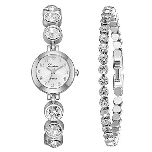 - Onefa Women Diamond Watch Bangle Simple Dial Steel Strip Temperament Fine Gift Watch Full Crystal for Ladies Quartz Round Diamonds Bracelet Watch 2pcs/Set (Silver)