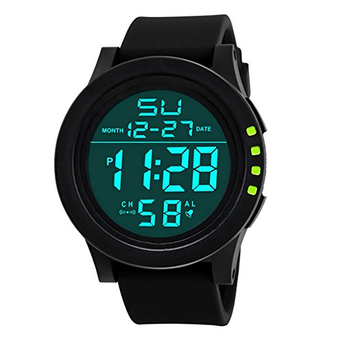Mens LED Watch,Ulanda-EU Unique Waterproof Digital Business Military Sport Men's Fashion Wristwatch,Clearance Cheap Watches with Round Dial High Quality PC Case,Comfortable Silicone Band ss12 (Green)