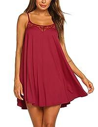 Ekouaer Sexy Lingerie Sleeveless lace Nightgown Adjustable O Neck Full Camisole Slip Dress S-XXL