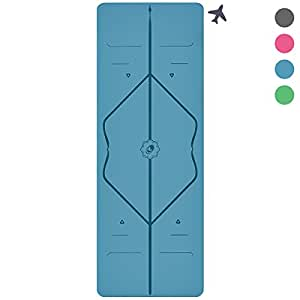 The Original Liforme TRAVEL Yoga Mat - The World's Best Eco-Friendly, Light And Portable Non Slip Yoga Mat With the Original Alignment Marker System. Biodegradable Mat Made With Natural Rubber & A Warrior-like Grip With Extra Support. Available in Grey, Pink, Blue and Green (Blue)