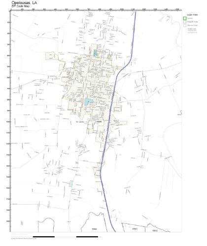 Opelousas Louisiana Map.Amazon Com Zip Code Wall Map Of Opelousas La Zip Code Map