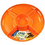 Molded Plastic Chip and Dip Tray (Orange)