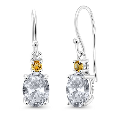 - 2.74 Ct Oval White Topaz Yellow Simulated Citrine 10K White Gold Earrings
