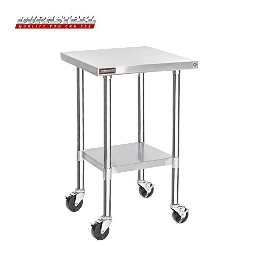 "DuraSteel Stainless Steel Work Table 30"" x 18"" x 34"" Height w/ 4 Caster Wheels - Food Prep Commercial Grade Worktable - NSF Certified - Good for Restaurant, Business, Warehouse, Home, Kitchen, Garage from DuraSteel"