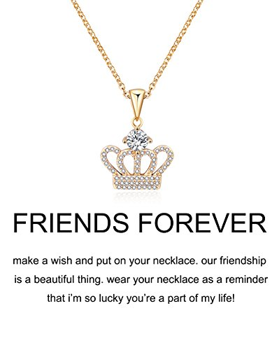Crown Charm Pendant Necklace - CYBERNY Cubic Zirconia Pendant Necklace Crown Pendant Necklace for Women Gold