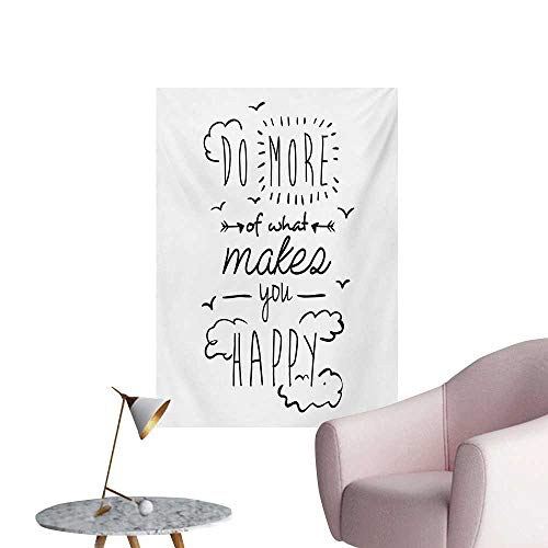 Anzhutwelve Quotes Wallpaper Do More of What Makes You Happy Clouds Achievement Attitude Positivity PrintBlack White W24 xL32 Poster -