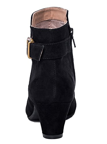 Toe ABUSA Bootie With Side Ankle Boots Round Strap Zip Cone Women's black Suede Heel Buckle pxxwISqCT