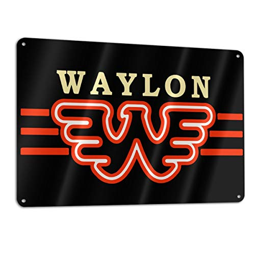 BAILIANHUA Waylon Jennings Logo Home Decor Sign Durable Novelty Quality Sign for Bar Room Kitchen Diner Bedroom Wall Decoration, 11.8