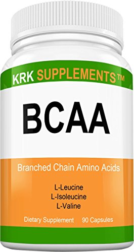 1 Bottle BCAA Branched Chain Amino Acids L-Valine L-Leucine L-Isoleucine 90 Capsules KRK Supplements