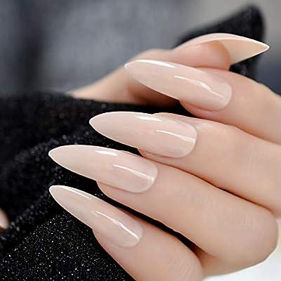 EchiQ uñas postizas de uñas naturales de gel UV, extra largas ...
