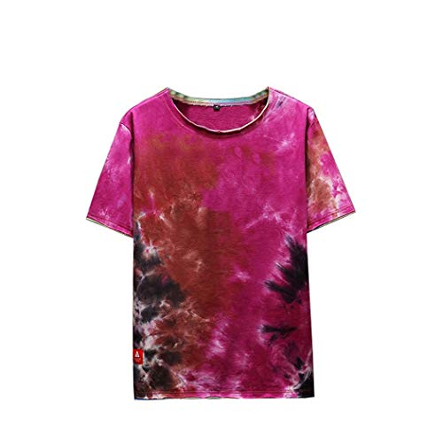AOJIAN Men T Shirts Short Sleeve T-Shirt Fashion Tie Dye Tee Shirts Tunic Blouses Vest Tank Tops -