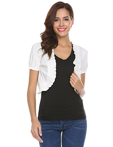 Short Sleeve Ruffle Cardigan (Concep Women's Ruffle White Bolero Shrug Jacket Ladies Open Front Crop Tops)