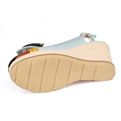 Blue Sandals Closed Color Toe AllhqFashion High PU Womens Buckle Round Assorted Heels wxqUfxPBn