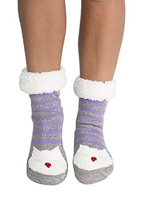Women's Faux Fur Fuzzy Winter Animal Socks with Grippers