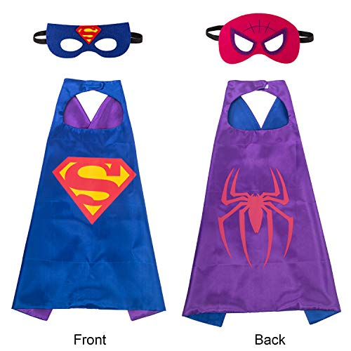 amasky Superhero Dress Up Costume Set, Double-Sided Satin Capes with Felt Masks for Kids, One Set Plays Double Roles (Superman-Spiderman) by amasky
