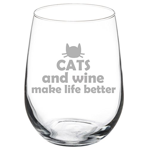 17 oz Stemless Wine Glass Funny Cats and Wine Make Life Better