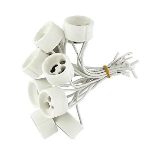 Kit de 10,20, 50ou 100douilles en céramique pour ampoules halogènes, LED 230V GU10avec câbles de raccordement, GU10, 100.0 wattsW, 230.0 voltsV