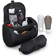 Organize and Conquer Premium Toiletry Bag, Unisex Men Women, Bathroom Shower Essential, Travel Gym Spa Cosmetic Shaving, Hanging Pouch Set + 3D Eye Mask + 2 Silicone Squeeze Bottles