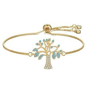 Gold Tree shape Bangle Bracelet Adjustable Bar Bracelet Jewelry Birthday Gift for Women,