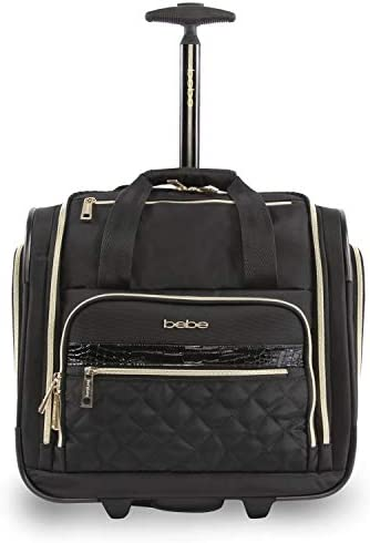 BEBE Women s Leena – Wheeled Under The Seat Carry On Bag, Black, One Size