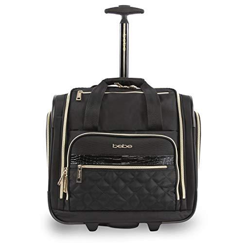 (BEBE Women's Leena-Wheeled Under The Seat Carry On Bag, Black )