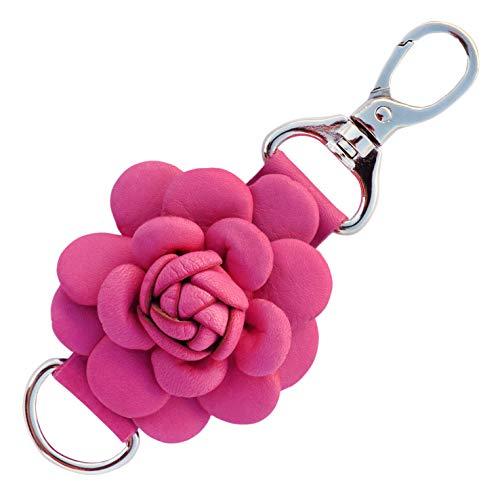 (Genuine Leather Handmade Rose Charms | Pom Pom Keychain | for Tassel Bags Purse Backpack (Fuchsia - Rose))