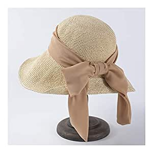 SHENTIANWEI Spring and Summer hat Ladies Big Visor Korean Version of Chiffon Bow Straw hat Sun Protection Sun hat Folding Beach hat (Color : Beige)