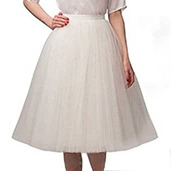 Women's Midi Tutu Skirt Knee Length Elastic Layered Tulle A Line Prom