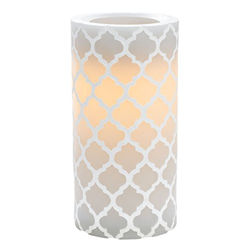 Sterno Home CGT11849GY Carved Quatrefoil Pillar with 5-Hour Timer, 3 6-Inch, Gray (Lamp Quatrefoil)